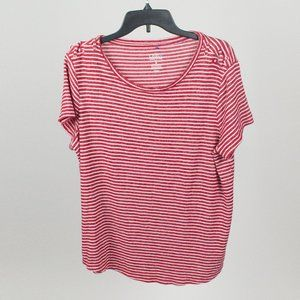 Plus Croft & Barrow Red and White Striped Tee